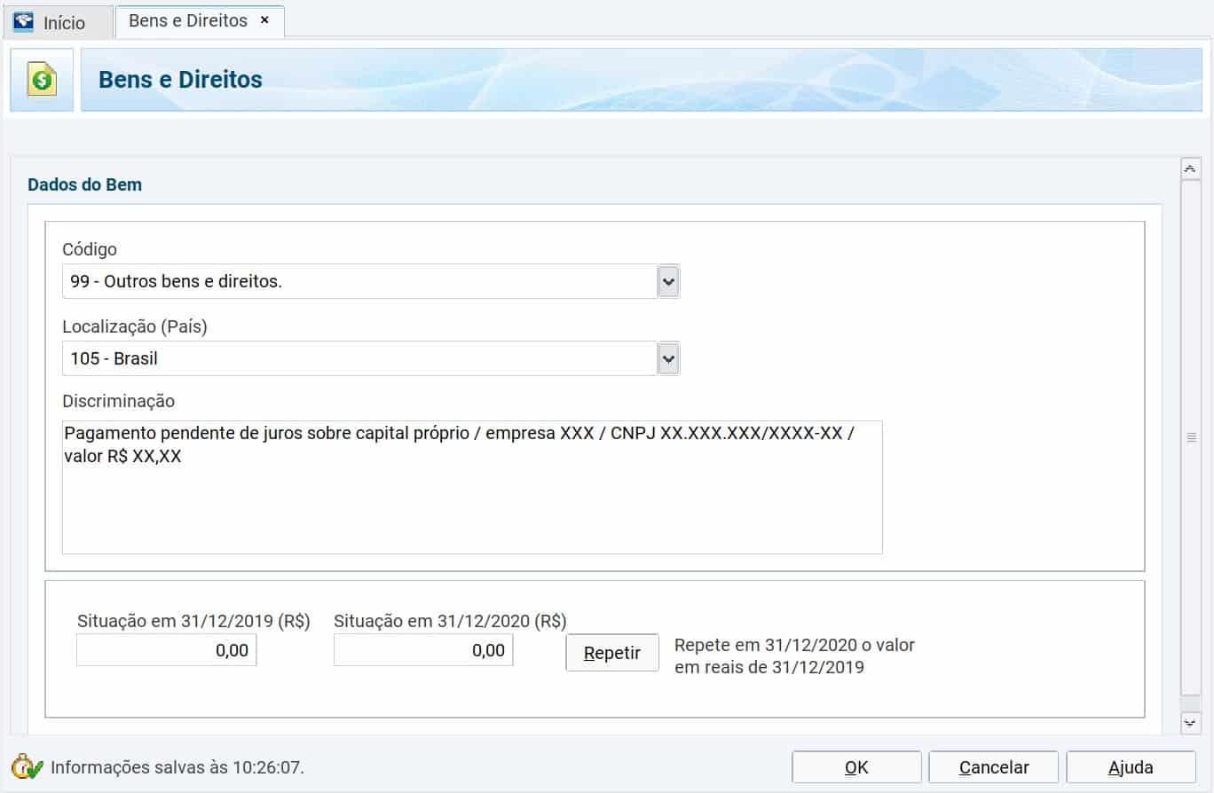 captura de tela da ficha bens e direitos no programa de declaração de imposto de renda 2021