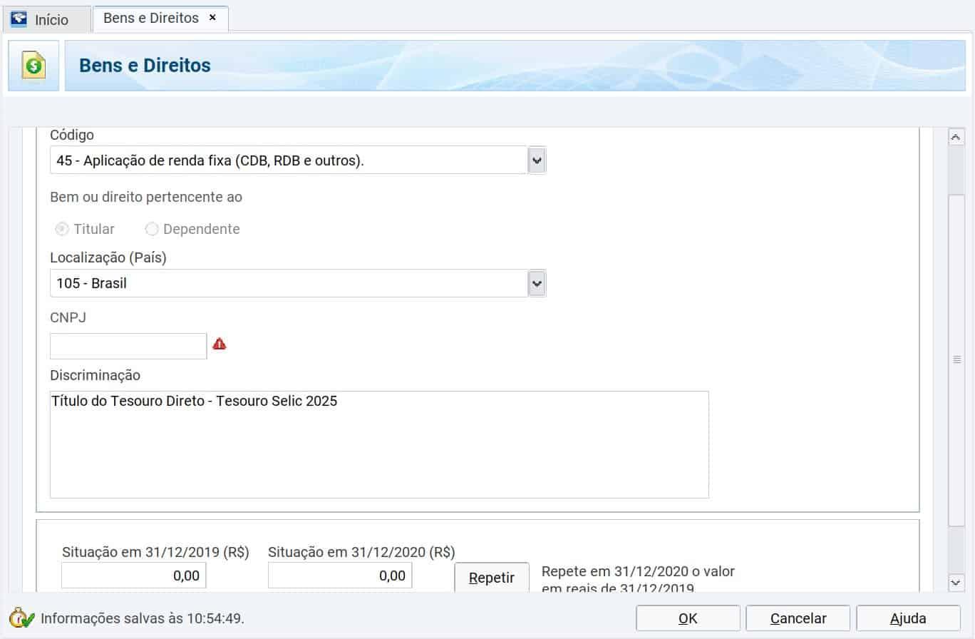 captura de tela do programa de declaração de imposto de renda mostrando a ficha de bens e direitos