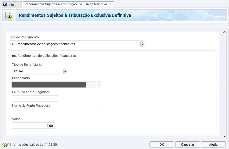 captura de tela do programa de declaração de imposto de renda mostrando a ficha de rendimentos sujeitos à tributação exclusiva/definitiva