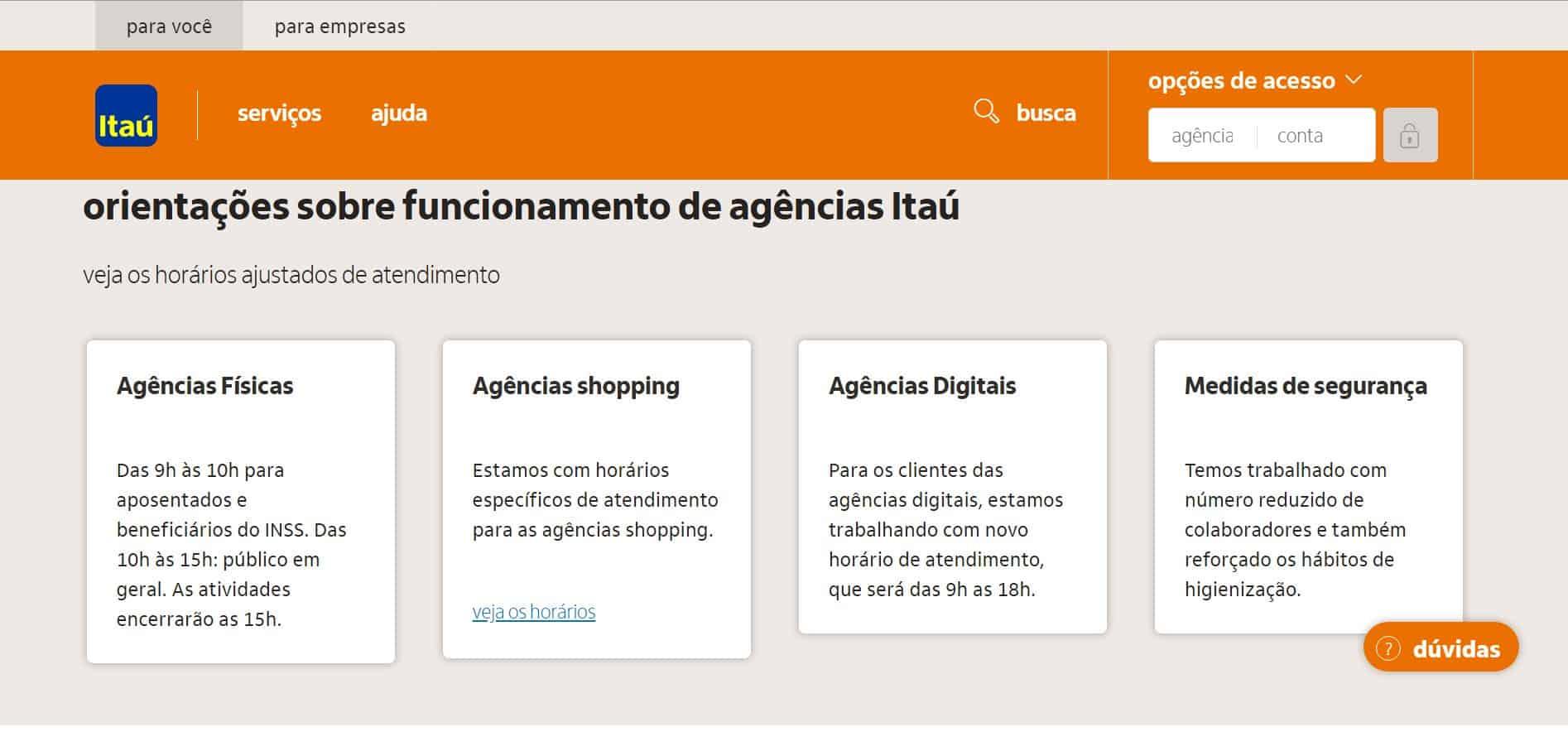layout do site do itaú