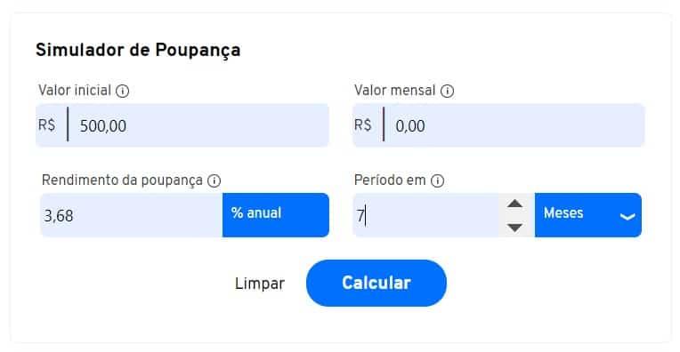preencher os dados da calculadora do rendimento da poupança
