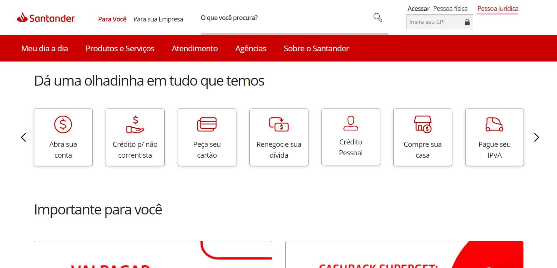 layout do site do santander