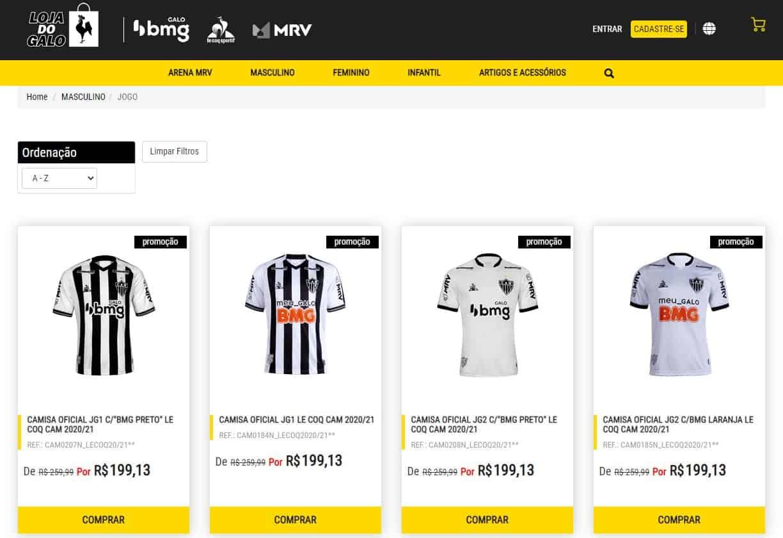 Valores das camisas do Atlético Mineiro na loja oficial do Galo (sem o frete)