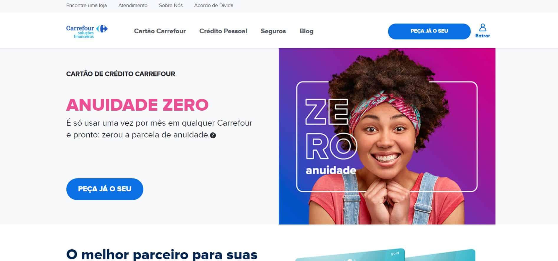 Print do site do Cartão Carrefour para auxiliar o leitor a gerar a fatura do cartão carrefour