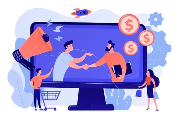 ilustração mostra dois homens que representam os tipos de afiliados no mercado fazendo negócios