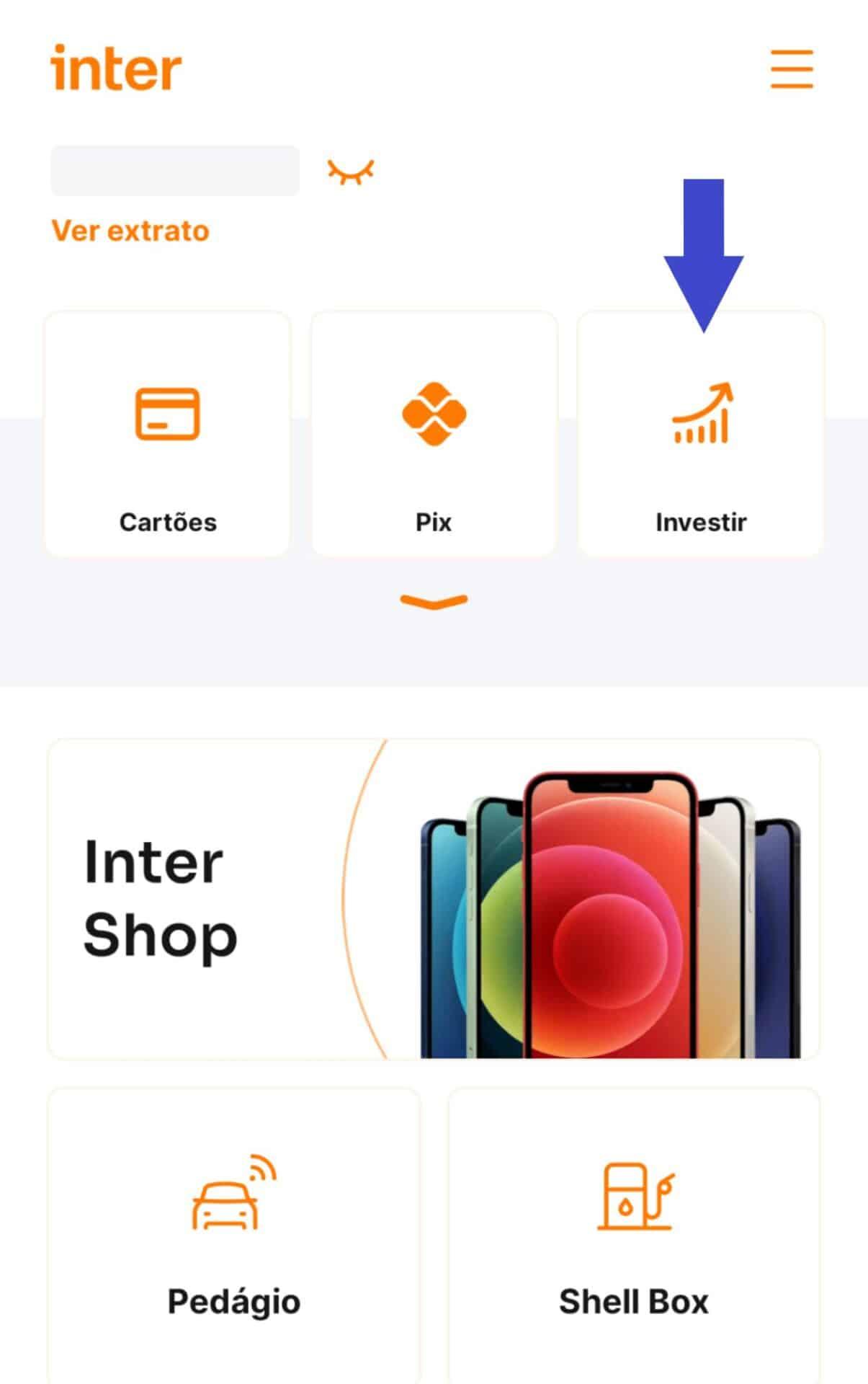captura da tela inicial do app banco inter