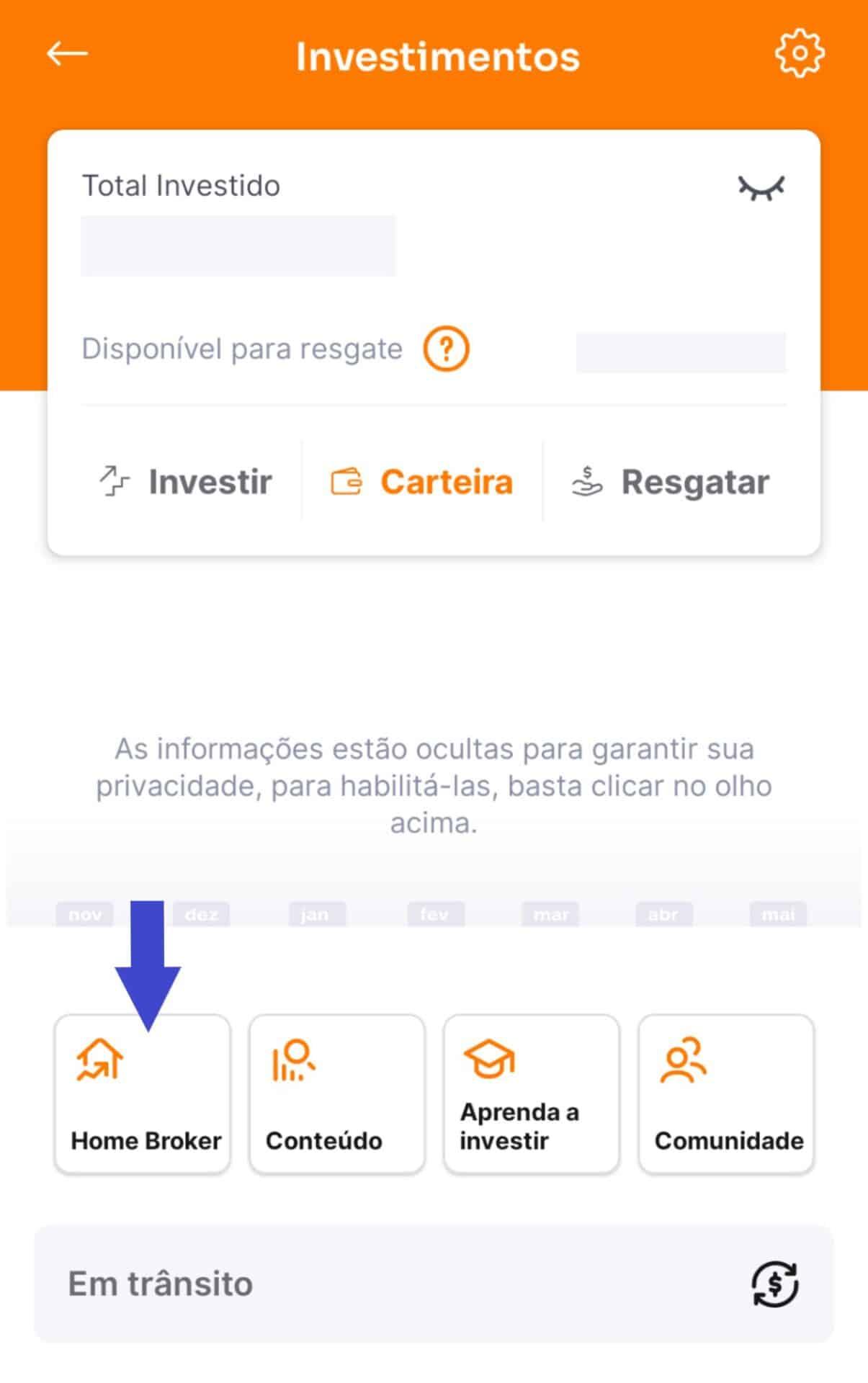 captura de tela da página de investimentos do banco inter