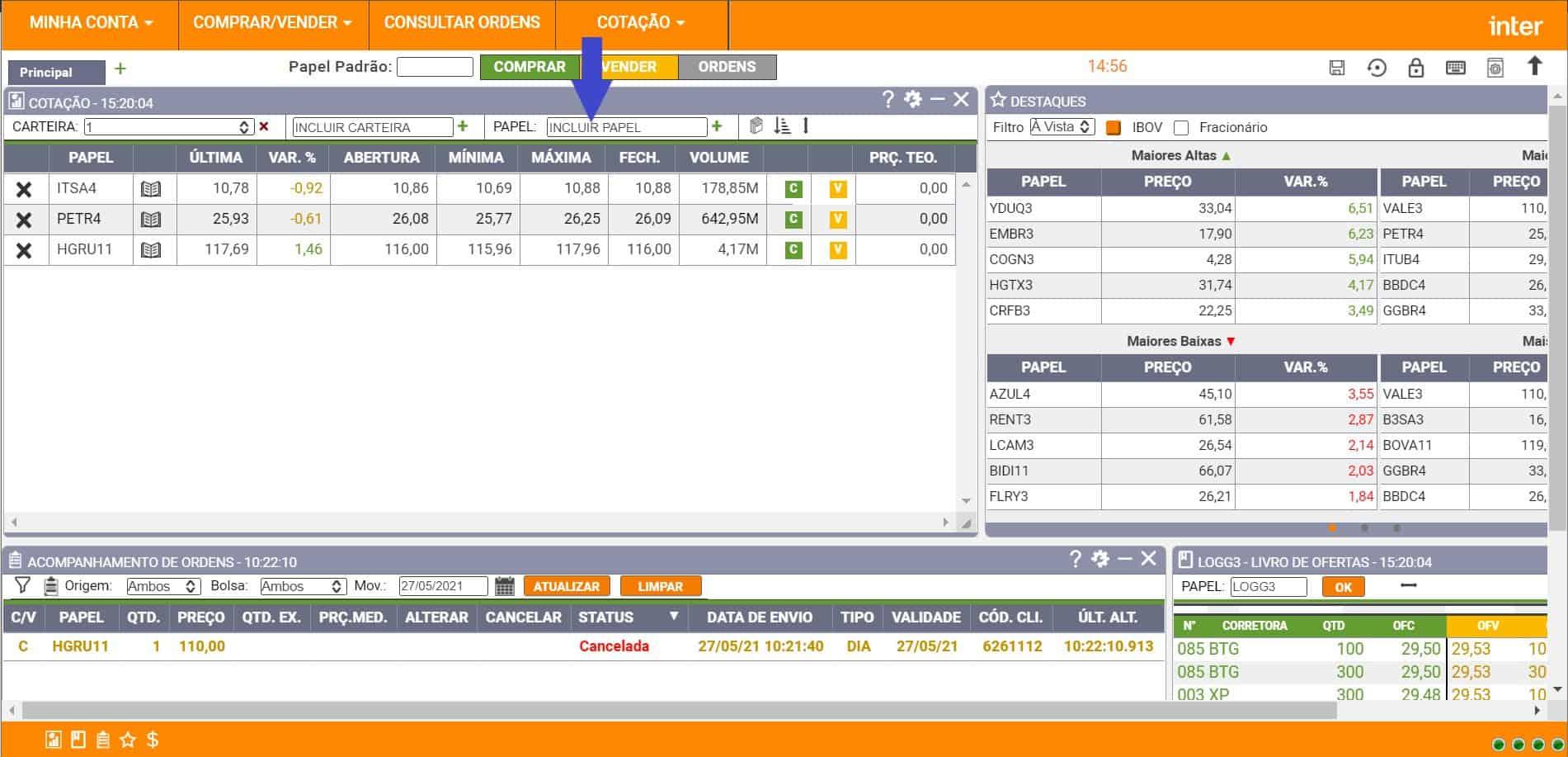 tela inicial do home broker inter desktop
