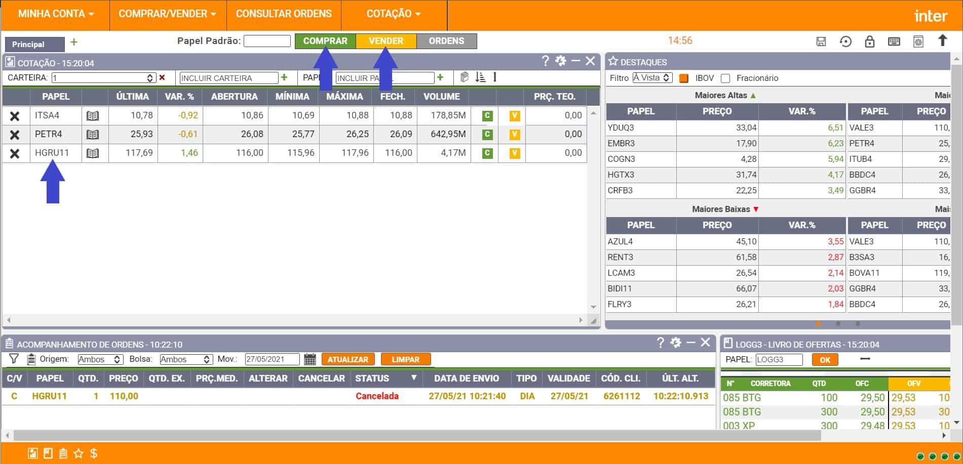 tela do home broker inter indicando botões de compra e venda