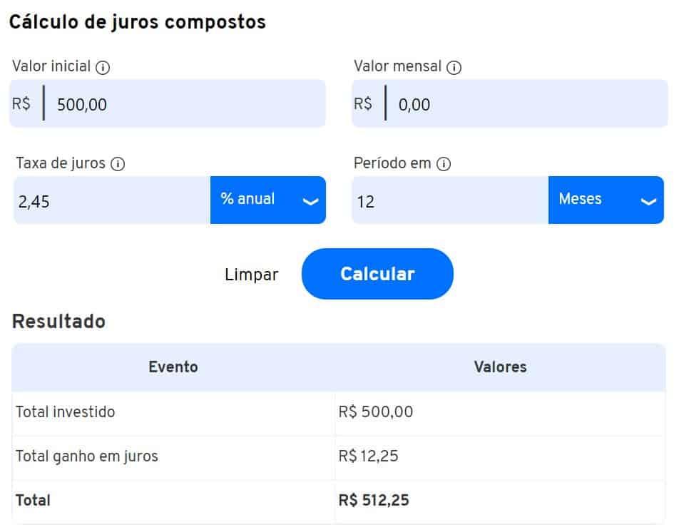 simulação do rendimento de 500 reais na poupança