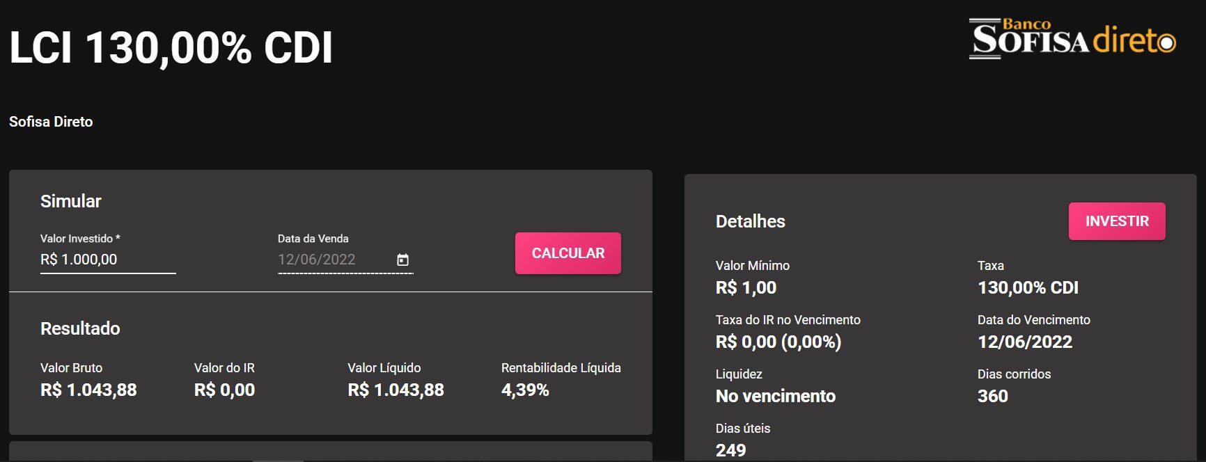 captura de tela de simulação de investimento no app renda fixa