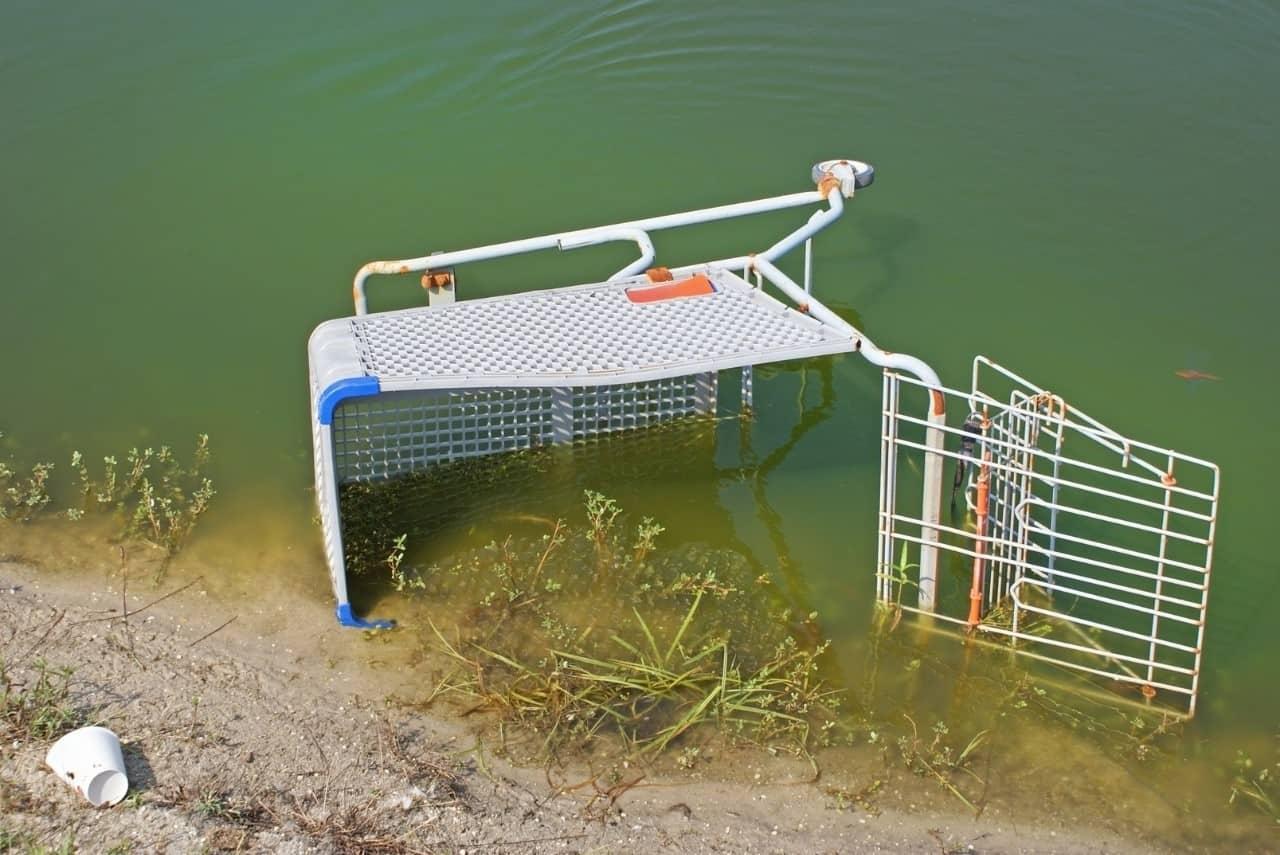 carrinho de supermercado jogado em um lago