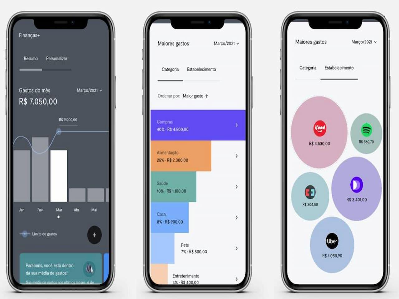 celulares com telas mostrando funcionalidades representando conta com inteligência artificial