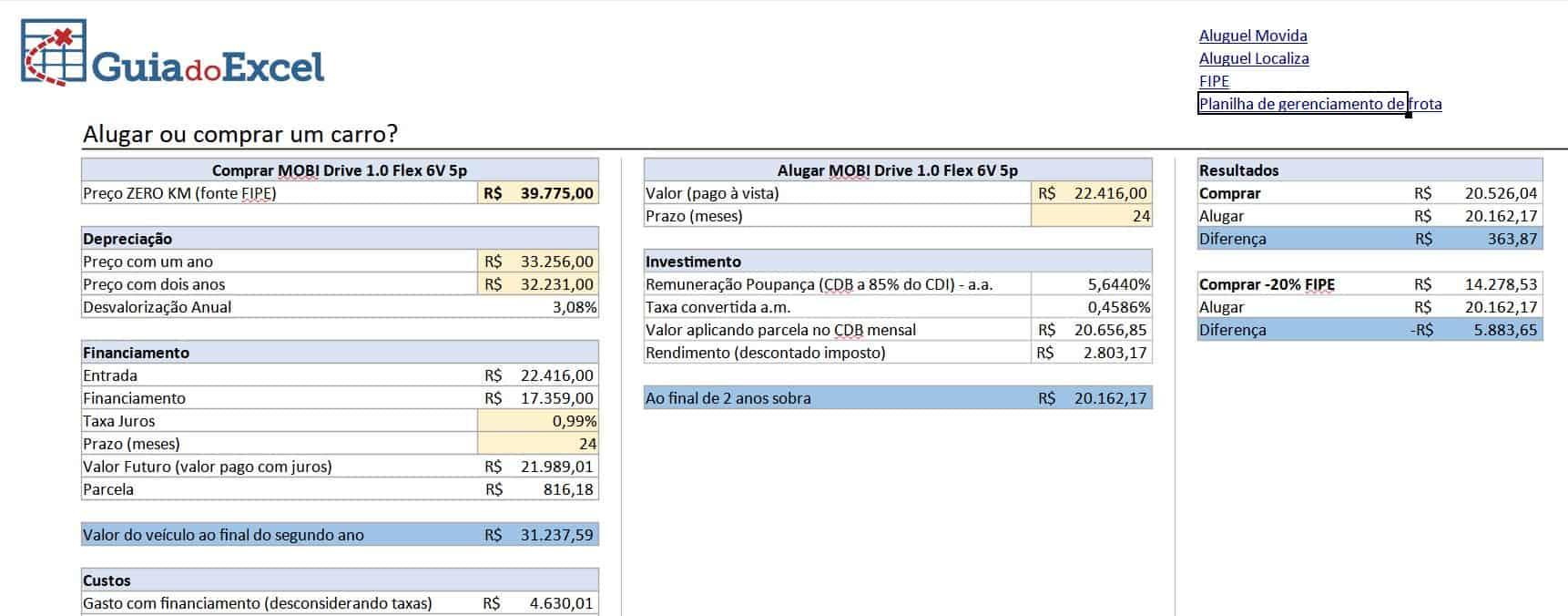 planilha comprar ou alugar um carro do Guia do Excel