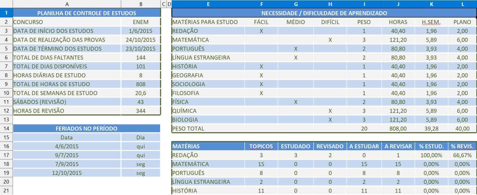 planilha de controle de estudos do Excel Prático