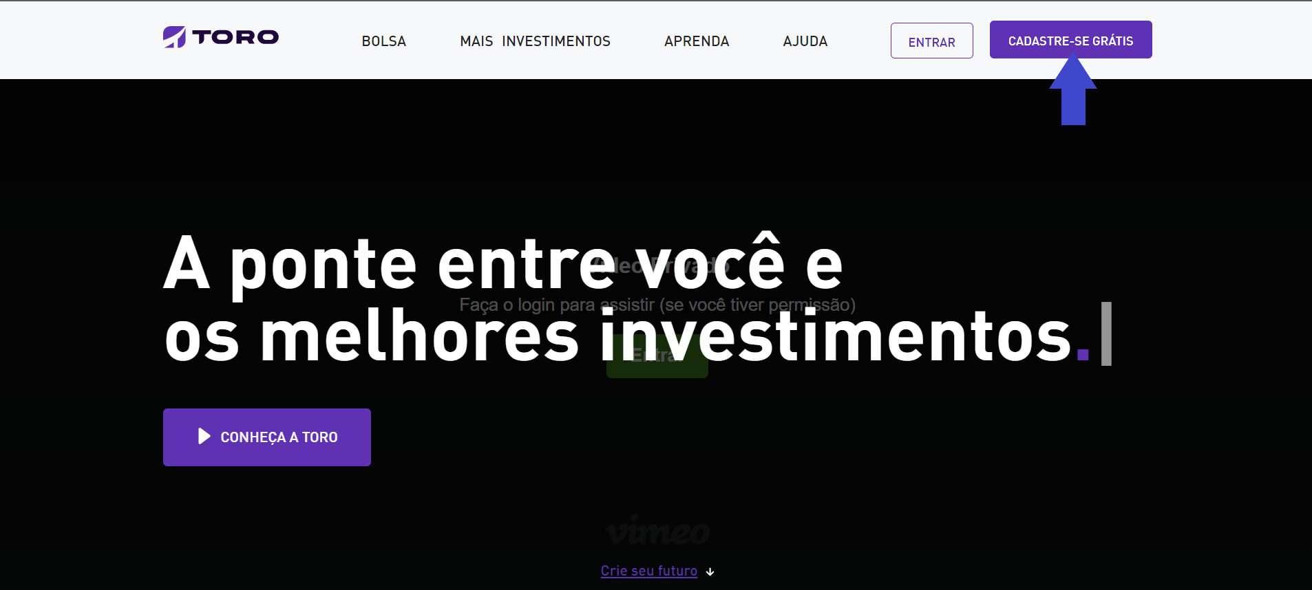 captura de tela da toro investimentos