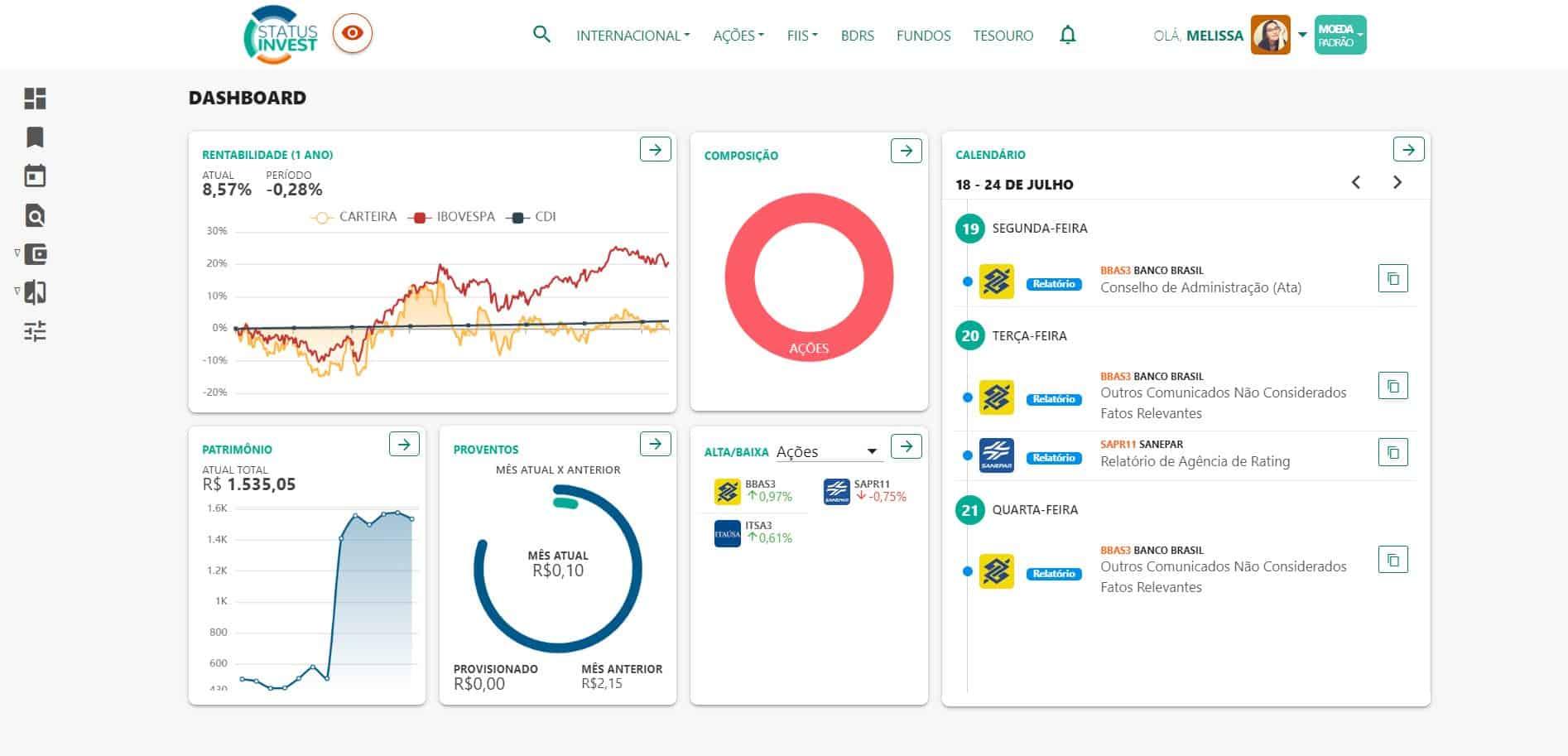 tela de dashboard do status invest