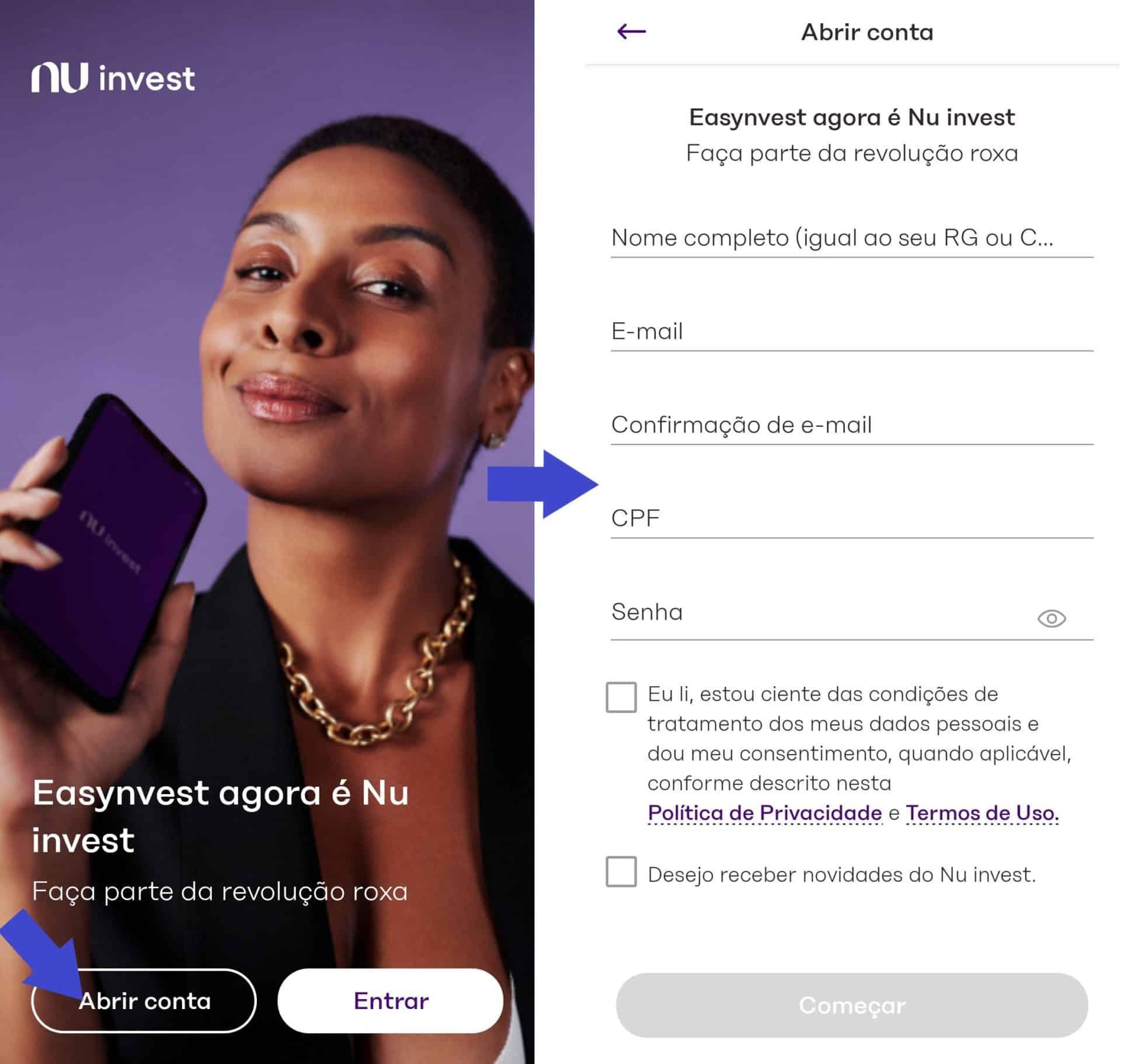abrir conta no nu invest pelo aplicativo