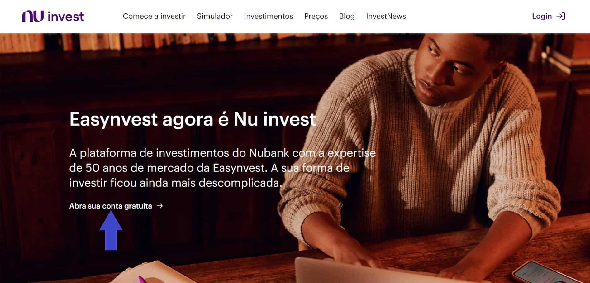 abrir conta no nu invest pelo site