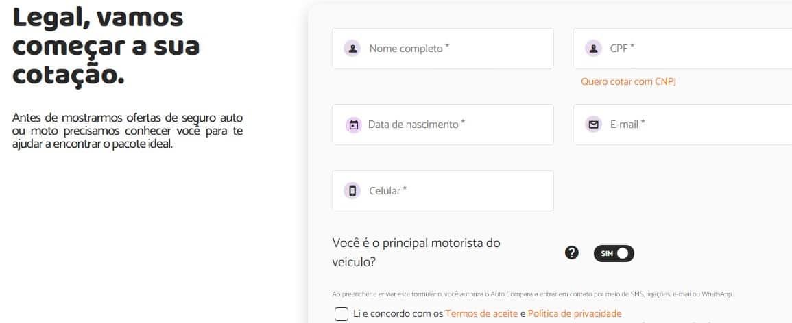 print da tela inicial do formulário de cotação no site do Auto Compara