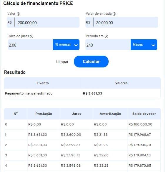 Cálculo de financiamento PRICE na Calculadora do iDinheiro