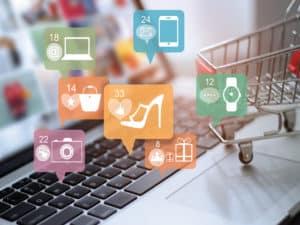 imagem ilustrativa sobre negócios online com ícones de sapatos, celulares, computadores e outros produtos