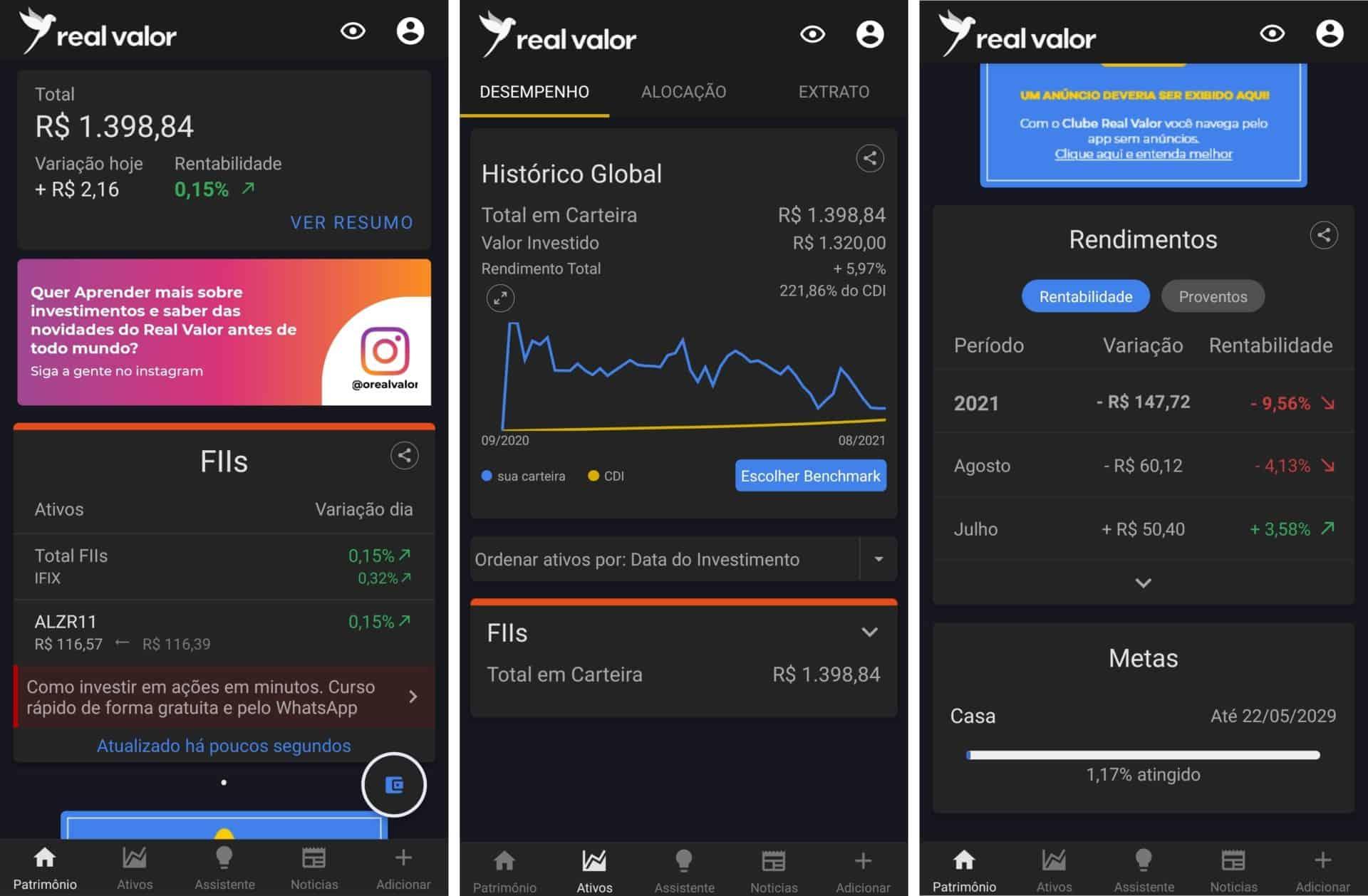 funcionalidades do app real valor