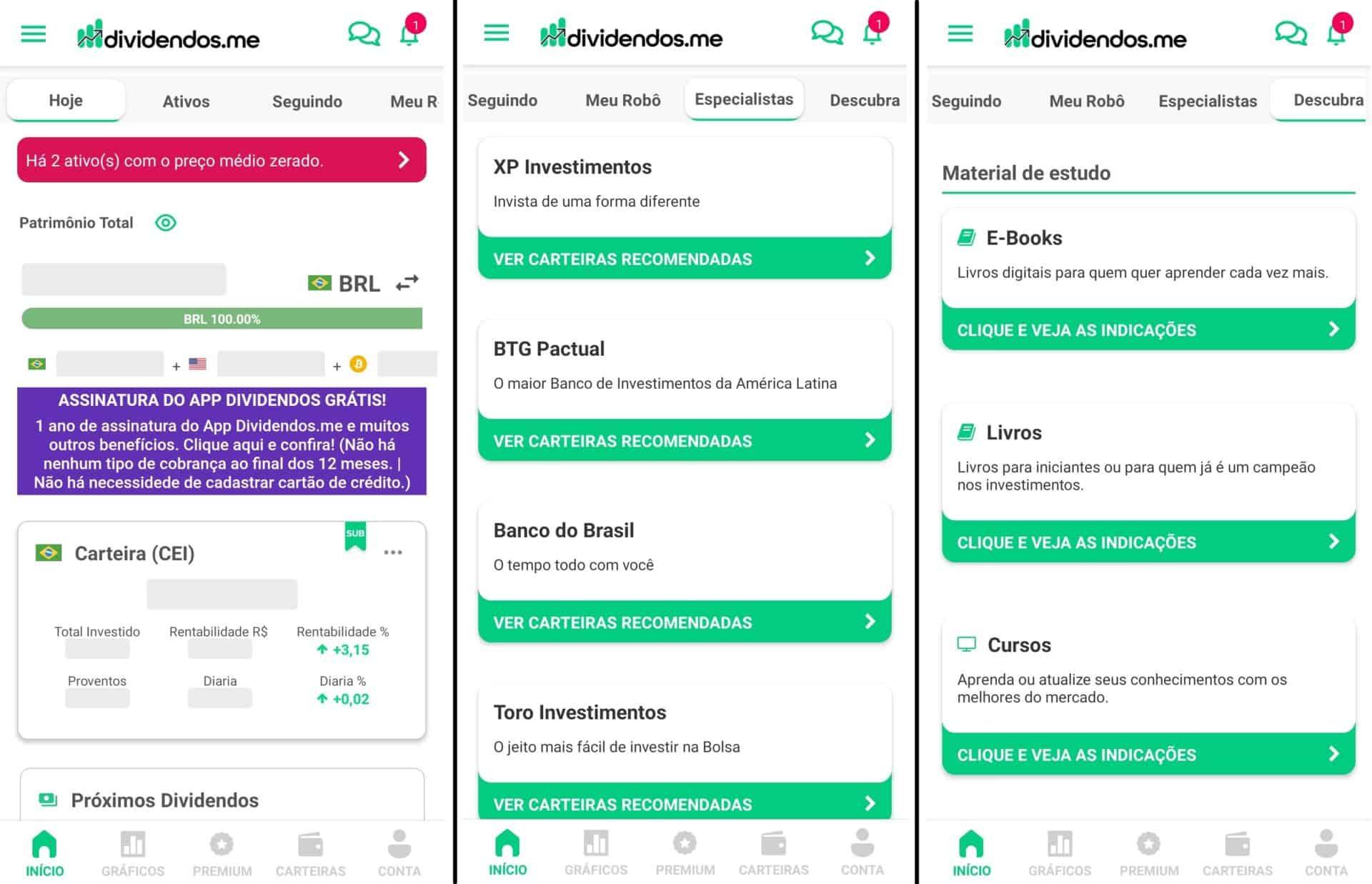 interface do app dividendos