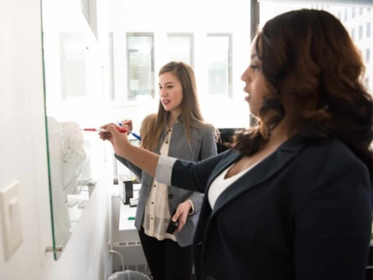 imagem para simbolizar a gestão financeira para pequenas empresas com duas mulheres fazendo anotações em um quadro